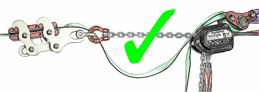 backup linegrip - correct slack
