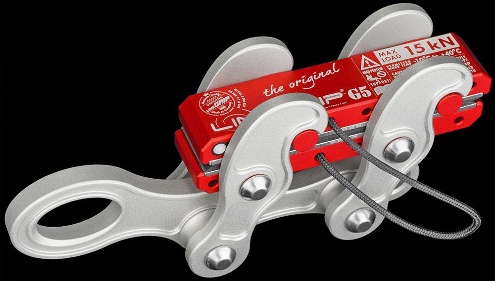 lineGrip G5 webbing clamp for rigging tensioning slacklines